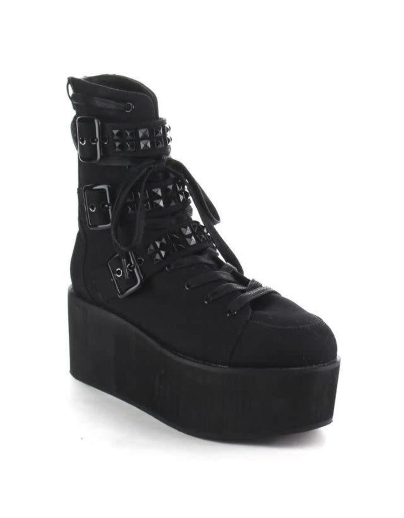"DEMONIA GRIP-101 2 3/4"" PF Lace-Up Ankle Boot w/Buckle Straps, Back Zip-D14SBC"