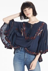 Lucky Lucky lace up embroidered peasant blouse