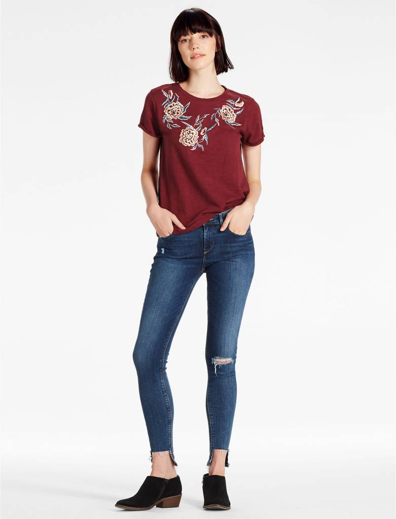 Lucky Lucky oversize floral emb tee