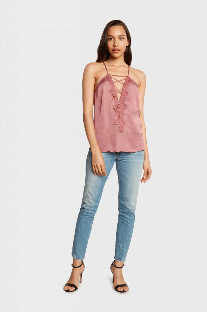 Willow & Clay Willow & Clay annette satin lace up cami