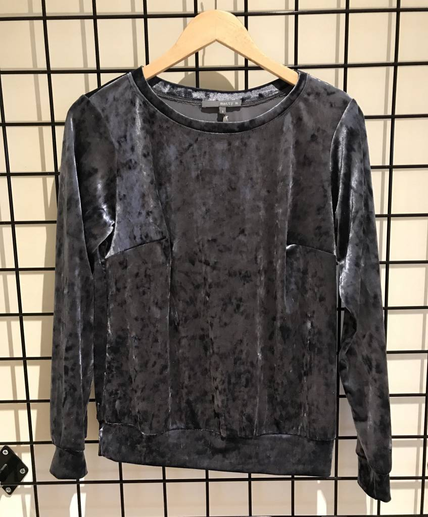 Matty M crew neck velvet sweatshirt