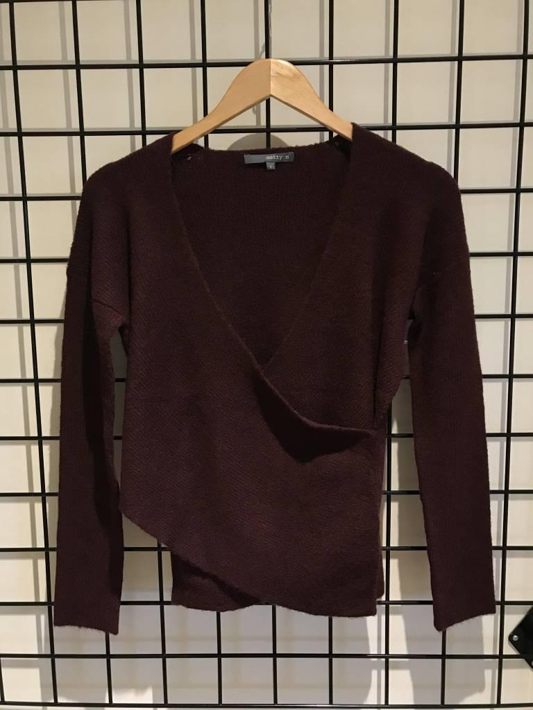 Matty M ls cross drape sweater