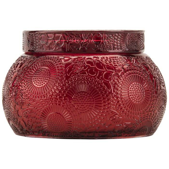 embossed glass chawan bowl with lid