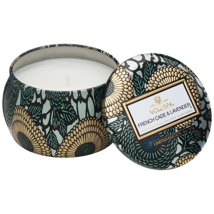 petite decorative tin candle