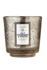petite embossed boxed pedestal candle