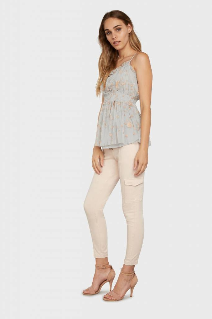 Willow & Clay Willow & Clay mesh rouched celestial embroidered tank