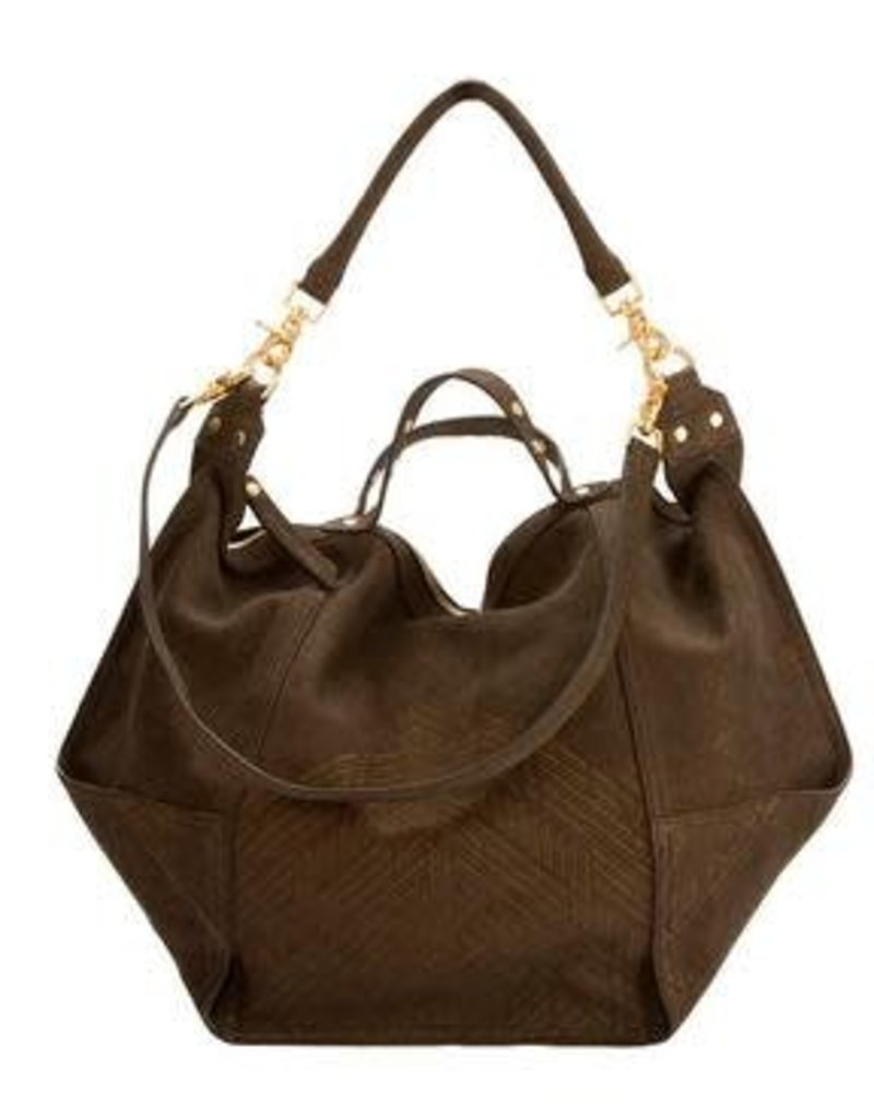 Cynthia Vincent dunnaway etched suede bag