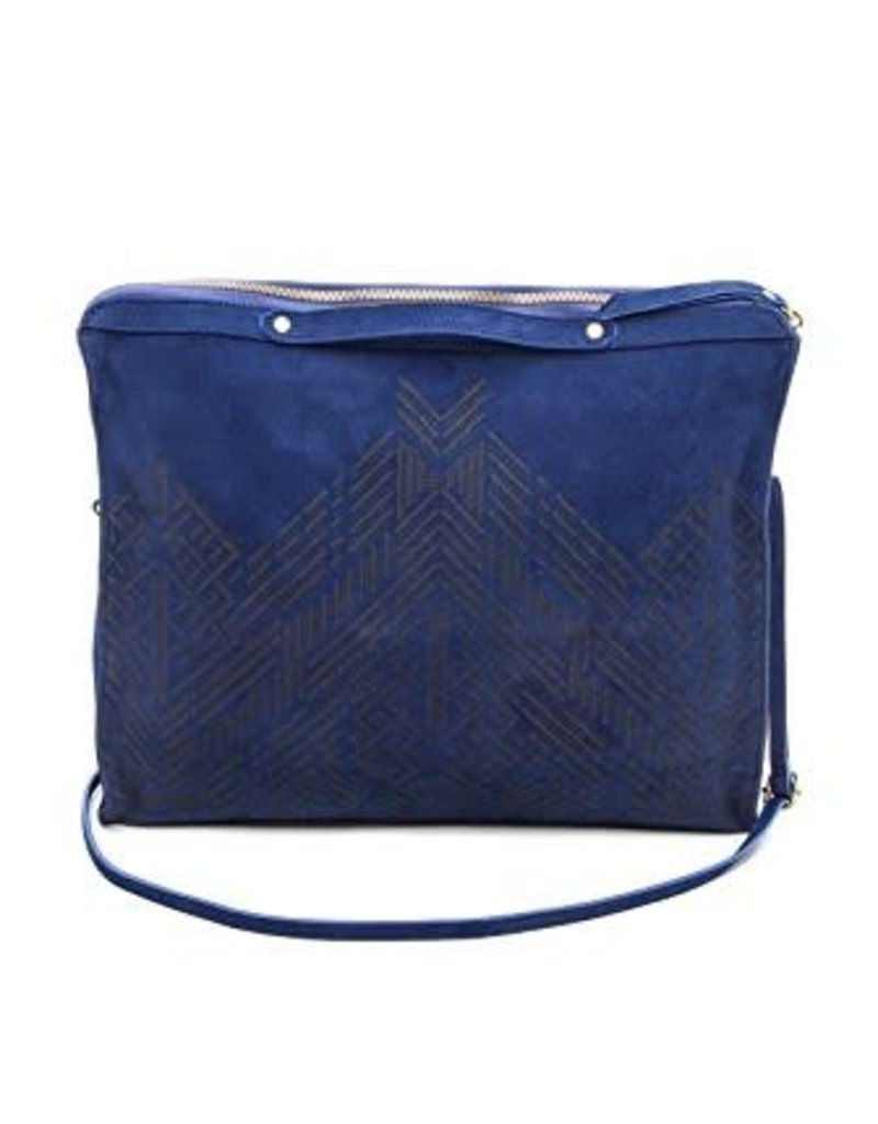 Cynthia Vincent bankers etched suede clutch