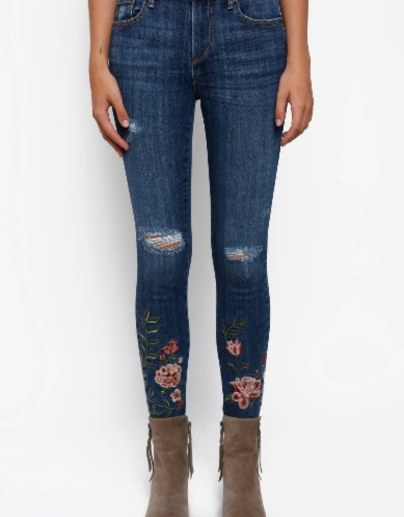 Driftwood jackie skinny with floral embroidery & destruction