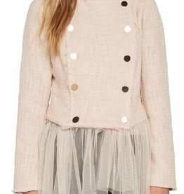 Willow & Clay lace up back tulle hem blazer