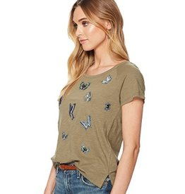 Lucky embroidered butterfly tee