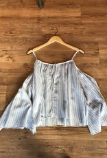 cold shoulder striped blouse