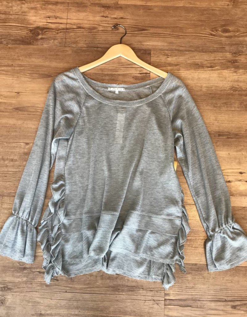Willow & Clay thermal top with ruffle hem