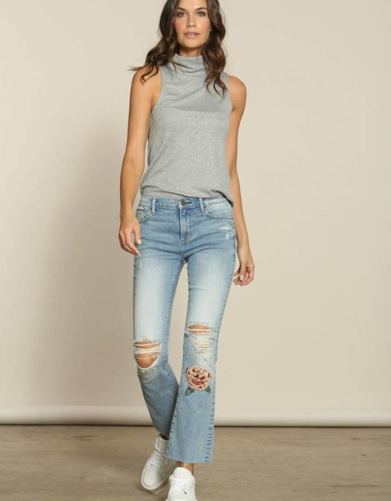Driftwood roxy kick flare crop with embroidery