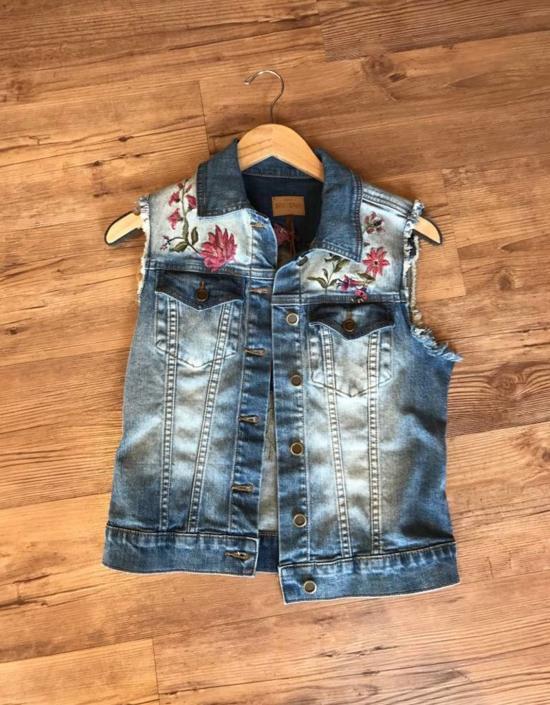 Driftwood vega denim embroidered vest