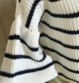 Fate stripe pullover ruffle sleeve sweater