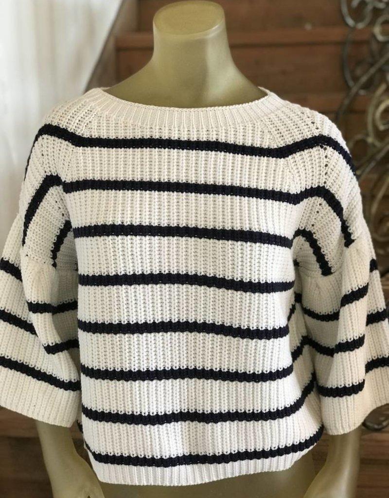 Fate stripe pullover ruffle sleeve sweater