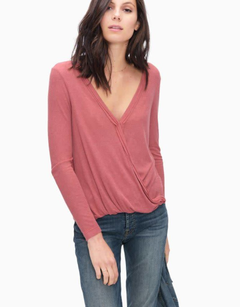 Splendid light weight v-neck faux wrap surplice top