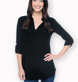Splendid shirt collar mixed media button front shirt