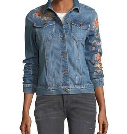 Driftwood geena floral embroidered denim jacket