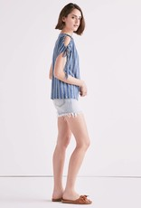 Lucky tie shoulder button back top