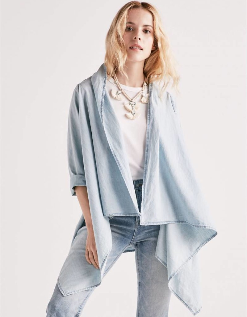 Lucky knotted and draped chambray cardi