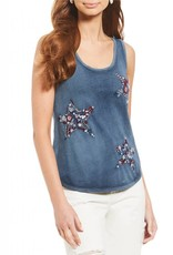 Lucky embroidered star tank