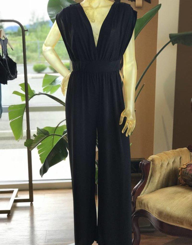 Gilli deep v gathered jumpsuit with pockets