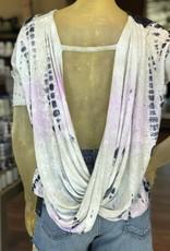 cowl back bar open back tie dye top