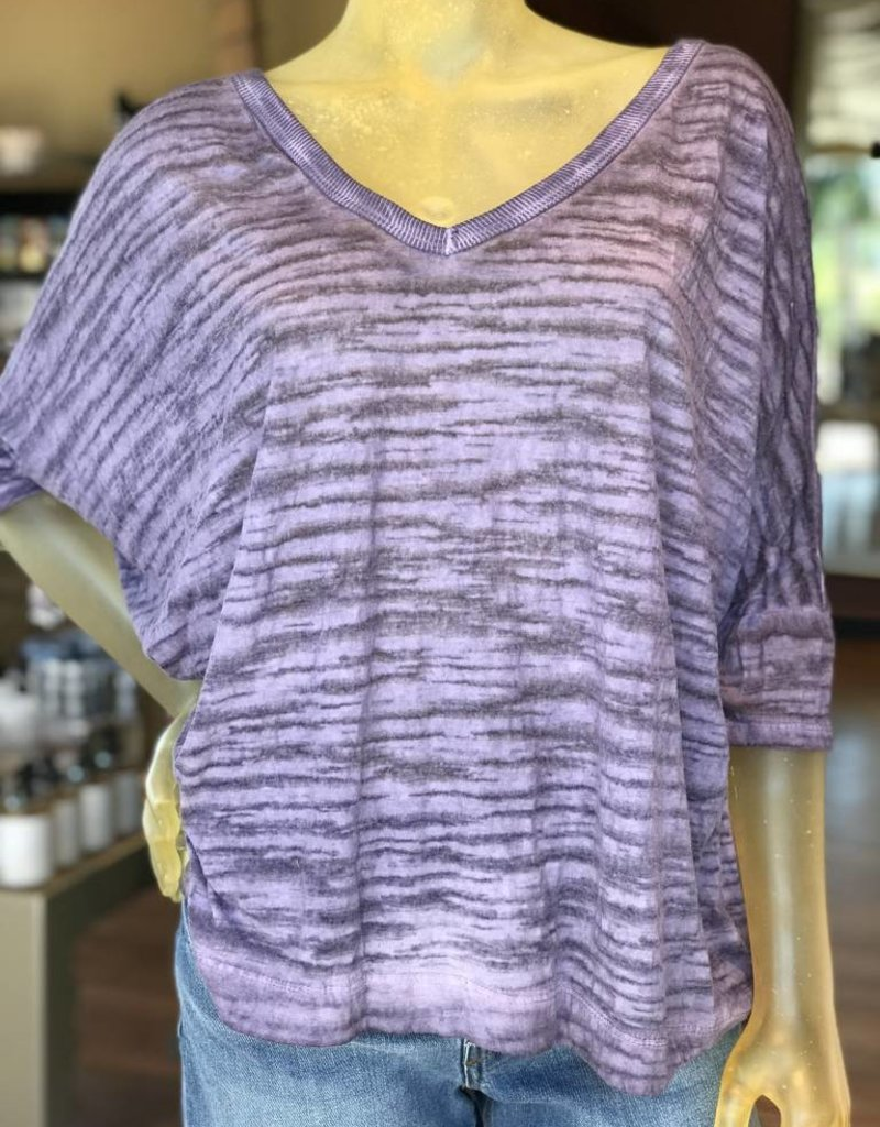 v-neck bar band zebra print top