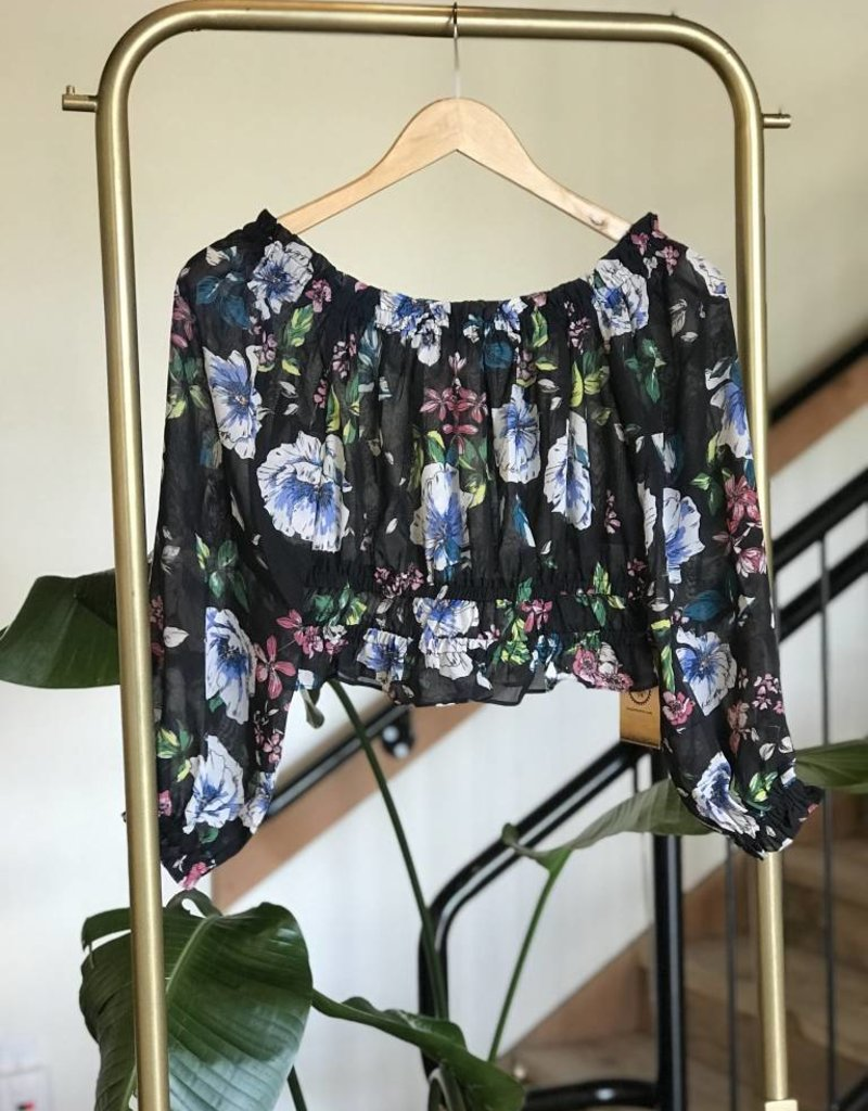 floral print rouched crop top