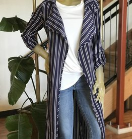 Favlux button up sleeve striped duster