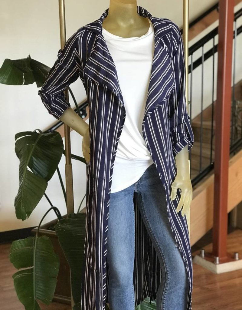 button up sleeve striped duster