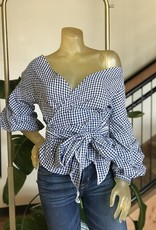 rouched gingham wrap top