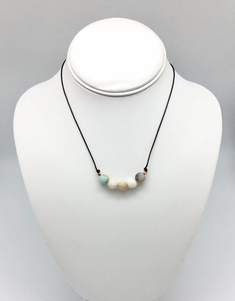 adjustable gemstone necklace natural beads healing graduated handmade product