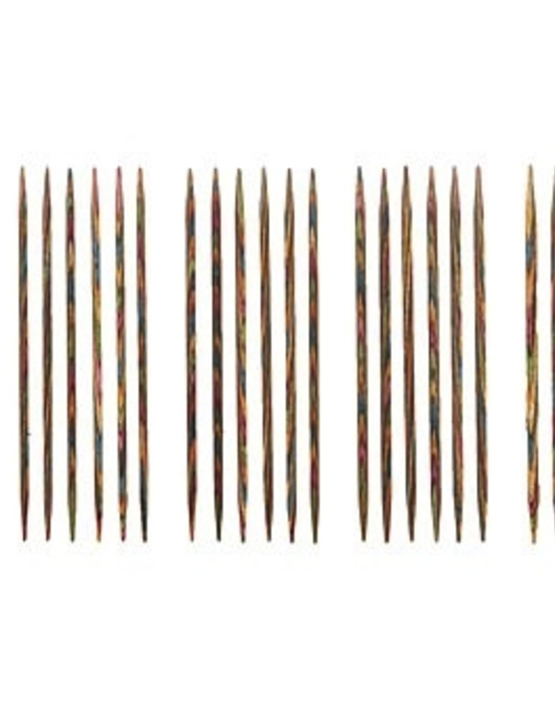 "Knitpicks 4"" Rainbow Wood Double Pointed Knitting Needle Set, US 0-4"