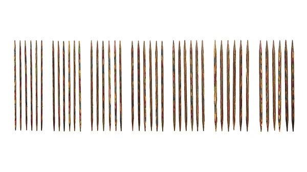 """Knitpicks 4"""" Rainbow Wood Double Pointed Knitting Needle Set, US 0-4"""