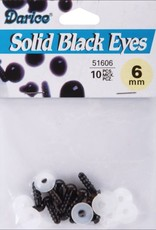 Shank Black Solid Eyes 6mm 10/Pkg