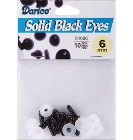 Shank Black Solid Eyes 6mm 10/Pkg