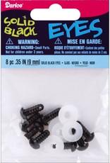 Shank Black Solid Eyes 9mm 8/Pkg, Black