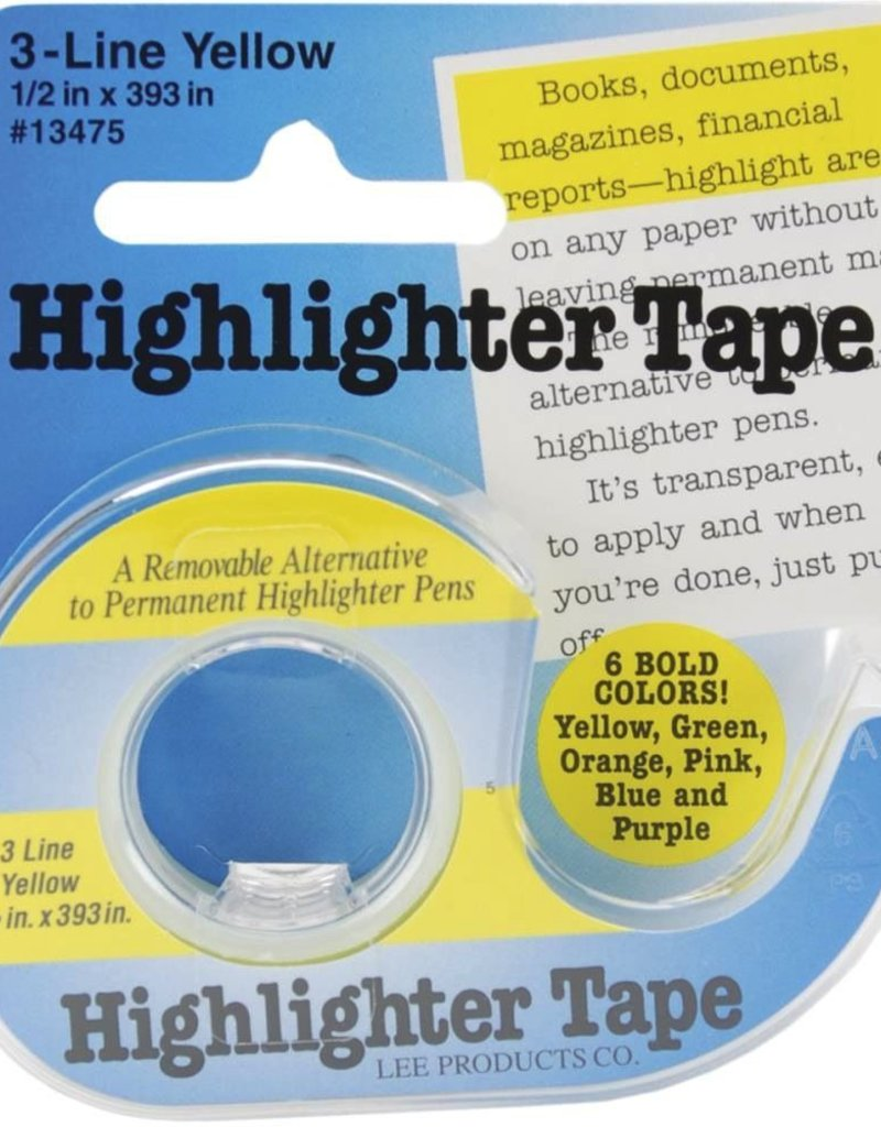 "Highlighter Tape, Yellow, 1/2""X393"""