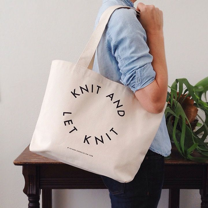 """Fringe Supply Co. """"Knit and let knit"""" tote by Fring Supply Co."""