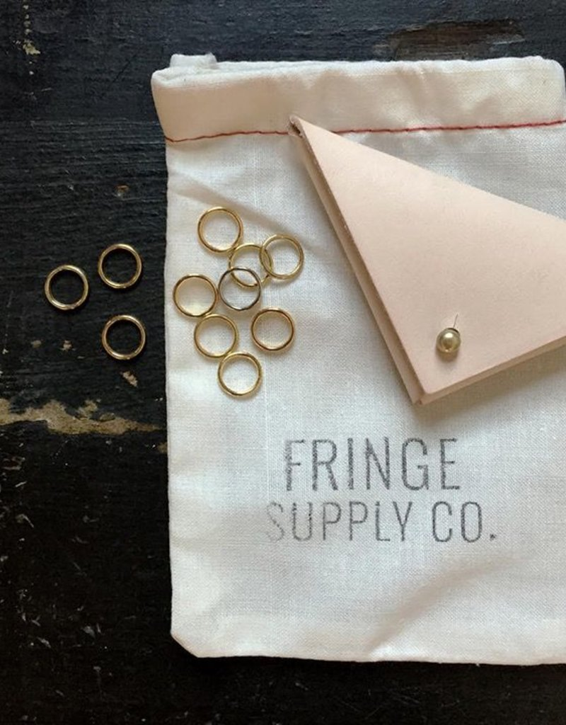 Fringe Supply Co. Leather and brass stitch markers set by Fringe Supply Co.