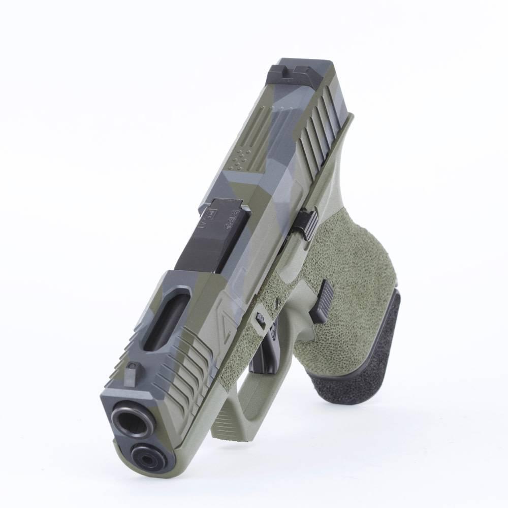 Agency Arms Agency Arms Glock 43 Green Frame Hybrid Blowndeadline Custom Cerakote Pattern