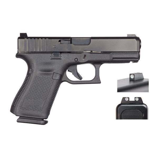 "Glock Glock 19 Gen5 9MM 4"" Night Sights Black (Blue Label)"