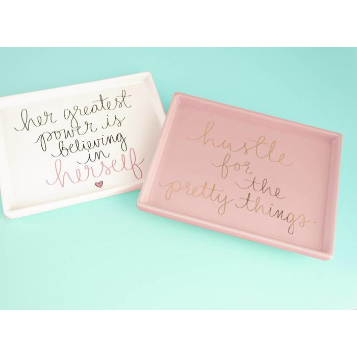 Dayna Lee Trinket Tray White Her Greatest Power 8x6.25