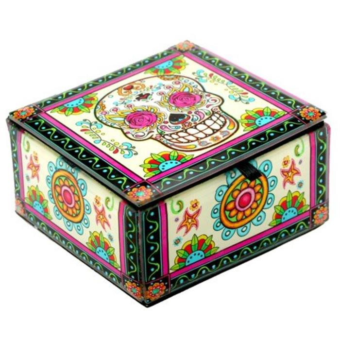Rosy Sugar Skull Box Glass