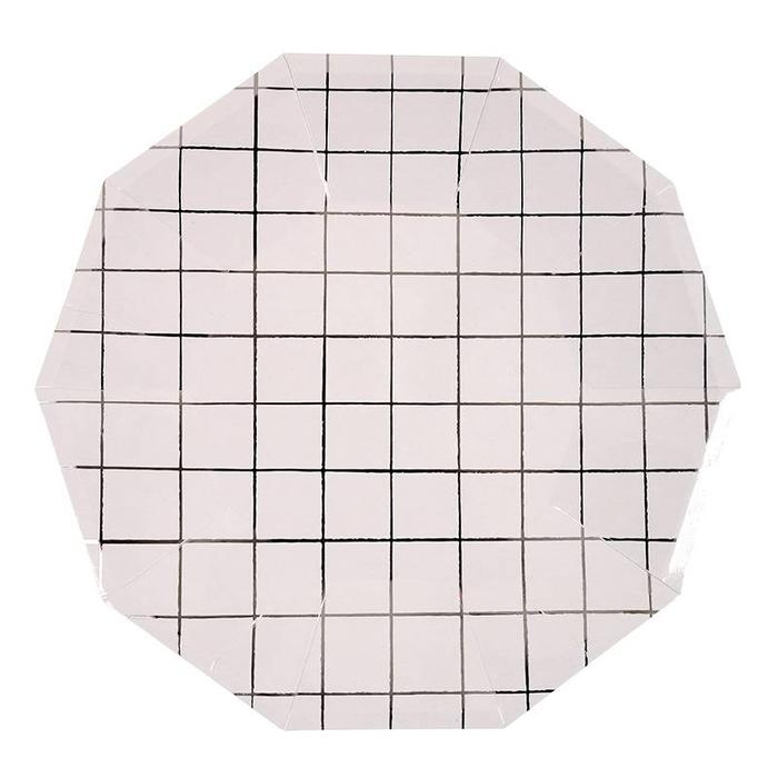 LARGE SILVER GRID PLATES