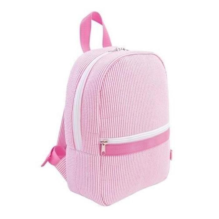 Pink Seersucker Backpack