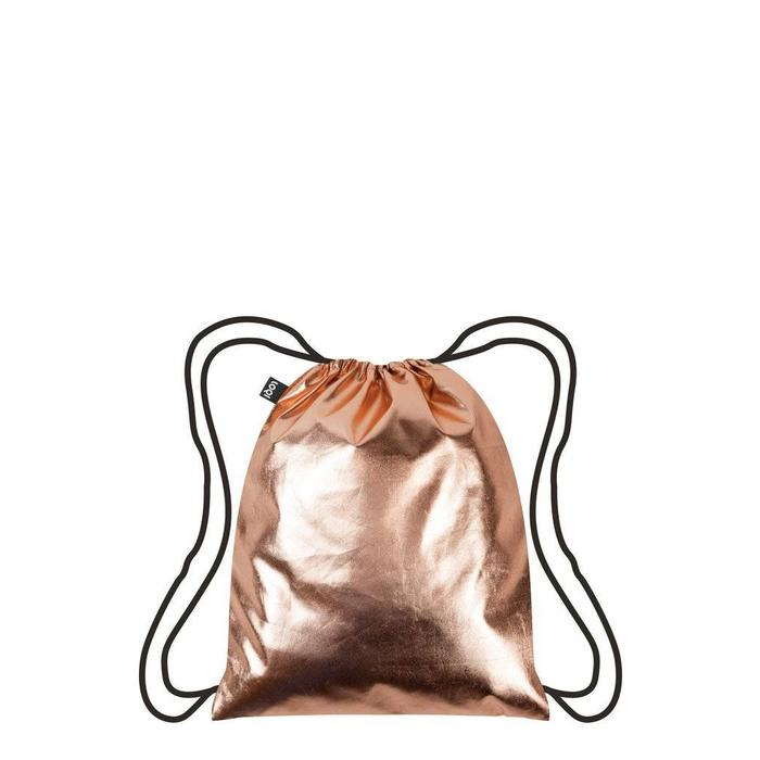 Metallic Rose Gold Drawstring Backpack